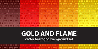 Heart pattern set Gold and Flame Royalty Free Stock Photos