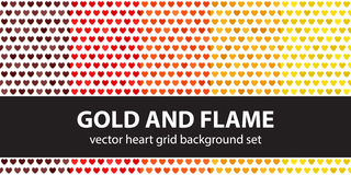 Heart pattern set Gold and Flame Stock Image