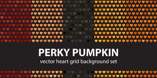 Heart pattern set Perky Pumpkin. Vector seamless backgrounds. Red, peach, black, orange, pumpkin hearts on black backdrop Stock Photography