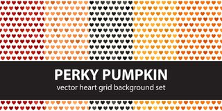 Heart pattern set Perky Pumpkin. Vector seamless backgrounds. Red, peach, black, orange, pumpkin hearts on white backdrops Royalty Free Stock Photo