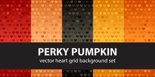 Heart pattern set Perky Pumpkin. Vector seamless backgrounds. Red, peach, black, orange, pumpkin hearts on gradient backdrops Stock Photography