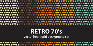 Heart pattern set Retro 70`s Stock Photo