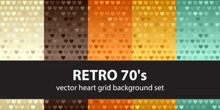 Heart pattern set Retro 70s. Vector seamless backgrounds. With beige, brown, orange, yellow, green hearts on gradient backdrops Stock Photo