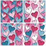 Heart Pattern_Valentine. A seamless, repeating hearts and spirals pattern in four Valentine's Day colorways Stock Photos