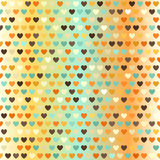 Heart pattern. Vector seamless background. With beige, brown, orange, yellow, green hearts on gradient backdrop Stock Image