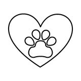 Heart with paw footprint isolated icon Royalty Free Stock Photography