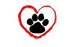 Heart with paw icon on white background. Heart paw icon white background love cute pet puppy isolated new concept drawing creation design idea graphic red stock photos