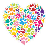 Heart paw print. Illustration of heart paw print on a white background Stock Photography