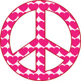 Heart Peace Sign. A peace sign filled with pink hearts Royalty Free Stock Images