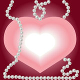 Heart And Pearls. White pearls necklace and heart shape jewelry Royalty Free Stock Images