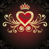 Heart, pearls and diamonds. Gold heart and nice decor Royalty Free Stock Image