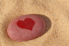 Heart pebble on the beach. Royalty Free Stock Photography