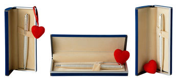 Heart and pen in gift box Stock Image