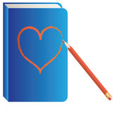 Heart,  pencil, book. Stock Image