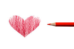 Heart and pencil Royalty Free Stock Image