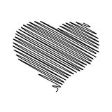 Heart - pencil scribble sketch drawing in black on white background. Valentine card  Stock Photo