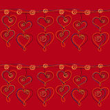 Heart Pendant Chain seamless pattern on a red background Stock Photos
