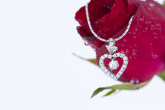 Heart pendant with diamond and red rose. On white background royalty free stock images