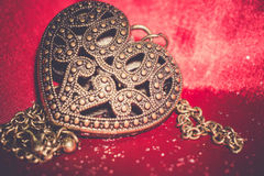 Heart Pendant On Silk Retro Royalty Free Stock Photos