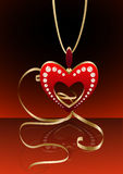 Heart pendant with reflection stock illustration
