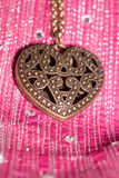 Heart Pendant on Silk Stock Images