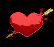 Heart penetrated by golden arrow Stock Photos