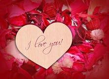 Heart on petals. Stock Photo