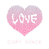 Heart petals flower with love text inside design pink purple Royalty Free Stock Image