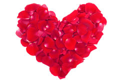 Heart of the petals of red roses Stock Photography