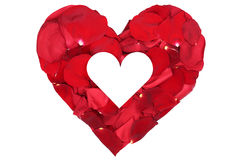 Heart from petals from roses love topic on Valentine's and mothe royalty free stock photo