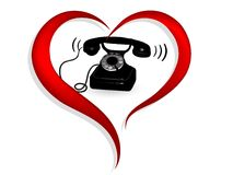 Heart with phone Royalty Free Stock Photography