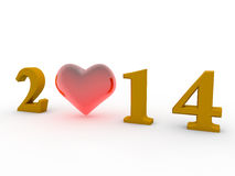 2014 heart. A photo of 2014 and heart vector illustration