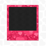 Heart photo frame. Decorative template for photo frame your photos. Picture frame with a texture of hearts for lovers and romantic design Stock Photos