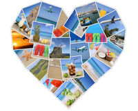 Heart from photos on summer vacation, beach, holiday and traveli Royalty Free Stock Photos