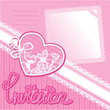 Heart and piace of paper - invitation card Stock Images