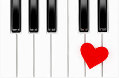 Heart on piano key Royalty Free Stock Photos