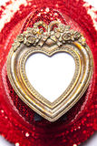 Heart Picture Frame On Red Background Stock Photos