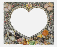 heart picture frame which decorated by shell Royalty Free Stock Photo