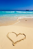 Heart- a picture on sand. Landscape in a sunny day Royalty Free Stock Image