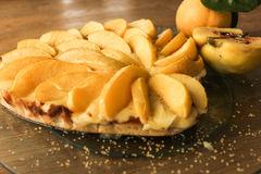 Heart pie with apples and quince. St. Valentine`s Day Royalty Free Stock Images