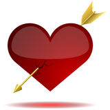 Heart pierced with arrow Stock Images