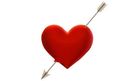 Heart pierced by an arrow. 3d model of the heart, shot through with an arrow of Cupid Stock Photography