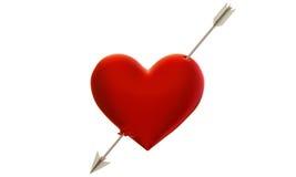 Heart pierced by an arrow. 3d model of the heart, shot through with an arrow of Cupid Stock Photography