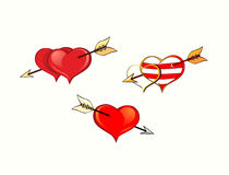 Heart  pierced by an arrow. Two hearts pierced by an arrow, heart-ring on the boom, one heart rubbed through boom Stock Photography