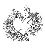 Heart pierced by arrow. Heart decorated flowers. Black and white illustration for Valentines Day. Heart pierced by arrow. Heart decorated flowers. Black and Stock Photography
