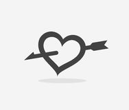 Heart pierced with an arrow. Icon of Love, Heart pierced with an arrow, Logo for Meeting Website  on White background Stock Photo