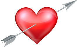 Heart pierced by arrow Stock Images