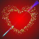 Heart pierced by the arrow of love. Heart in a frame of 3d gold. Stars confetti Stock Photo