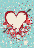 Heart pierced by arrow with spring flowers.Vintage Stock Photo