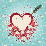 Heart pierced by arrow with spring flowers.Vintage Royalty Free Stock Photo